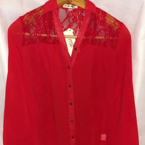 Passion Red lace blouse - New